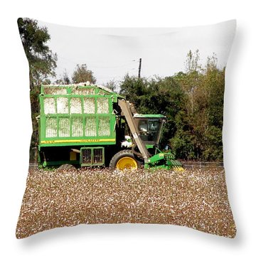Cotton Gin Throw Pillow by Donna Brown