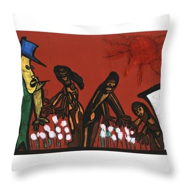 Cotton Pickers Throw Pillow
