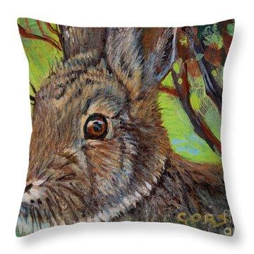 Cotton Tail Rabbit Throw Pillow