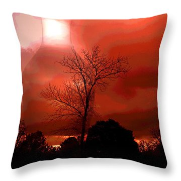 Throw Pillow featuring the photograph Cottonwood Crimson Sunset by Joyce Dickens