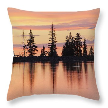 Cottonwood Sunset Lake Reflections  Throw Pillow