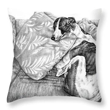 Couch Potato Greyhound Dog Print Throw Pillow