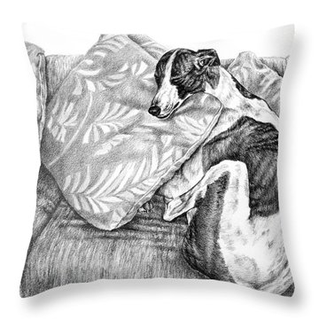 Couch Potato Greyhound Dog Print Throw Pillow
