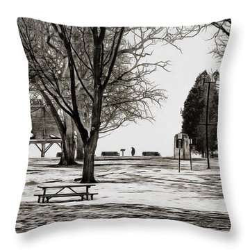 Couchiching Park In Pencil Throw Pillow