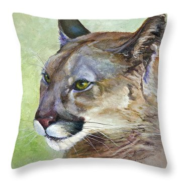 Throw Pillow featuring the painting Cougar by Bonnie Rinier