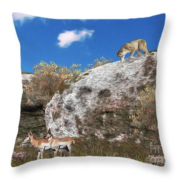 Cougar From Above Throw Pillow by Walter Colvin