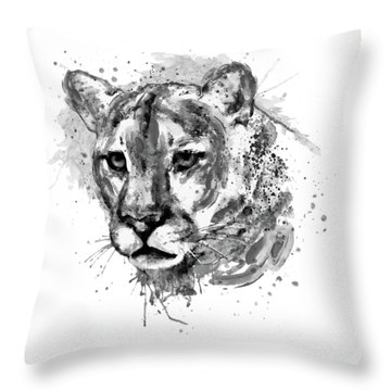 Throw Pillow featuring the mixed media Cougar Head Black And White by Marian Voicu