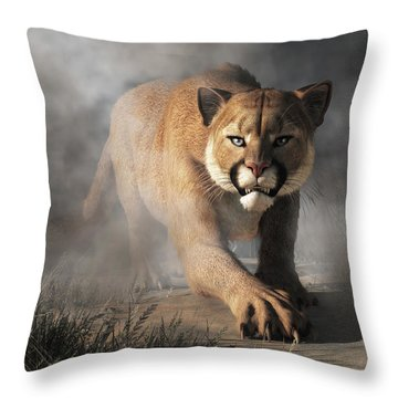 Cougar Is Gonna Get You Throw Pillow by Daniel Eskridge