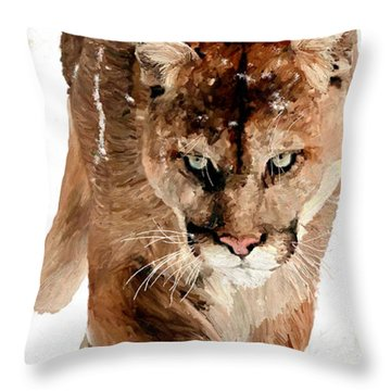 Throw Pillow featuring the painting Cougar In The Snow by James Shepherd