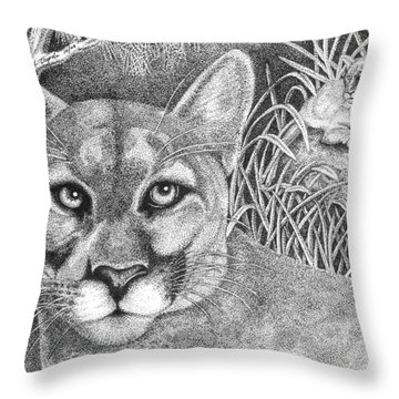 Cougar Throw Pillow by Lawrence Tripoli