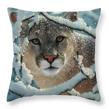 Cougar - Silelnt Encounter Throw Pillow