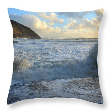 Throw Pillow featuring the photograph Coumeenole Beach Is Getting A White Wash by Barbara Walsh