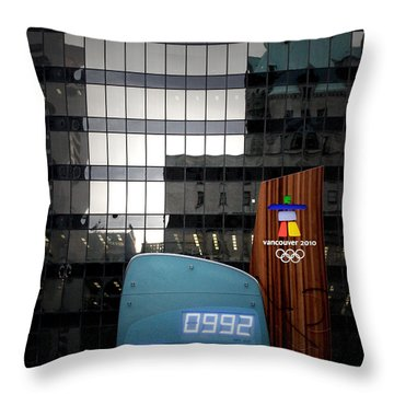 Countdown Clock Olympic Winter Games Vancouver Bc Canada 2010 Throw Pillow by Christine Till