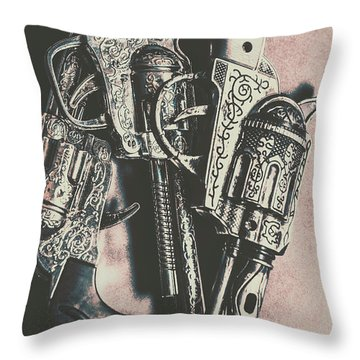 Country And Western Pistols Throw Pillow