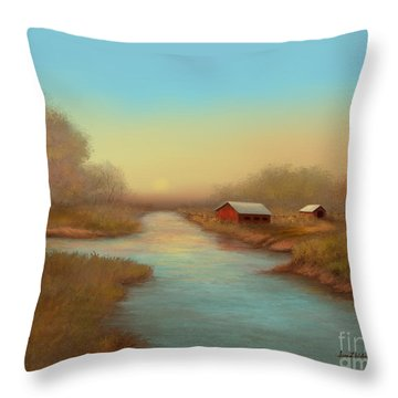 Country Barns Throw Pillow by Sena Wilson