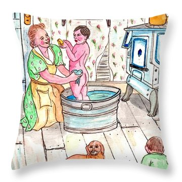 Country Bath Throw Pillow by Philip Bracco
