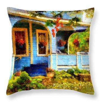 Country Blue Autumn Porch Throw Pillow