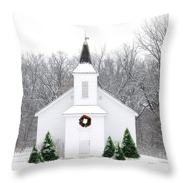 Country Christmas Church Throw Pillow by Carol Sweetwood