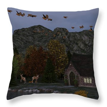Throw Pillow featuring the digital art Country Church Autumn At Twilight by Methune Hively