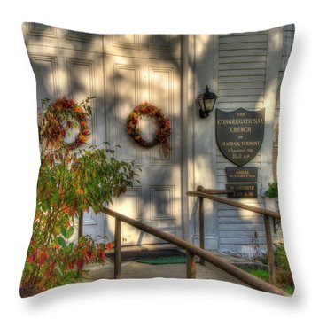 Throw Pillow featuring the photograph Country Church In Autumn - Vermont Fall by Joann Vitali