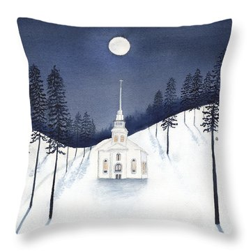 Country Church In Moonlight 2, Silent Night Throw Pillow