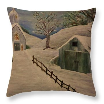 Country Church In The Snow Throw Pillow by Christy Saunders Church