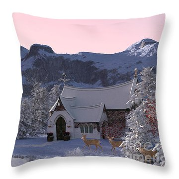 Throw Pillow featuring the digital art Country Church by Methune Hively