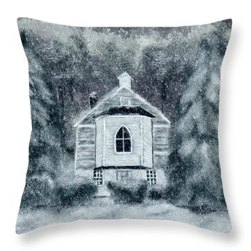 Throw Pillow featuring the digital art Country Church On A Snowy Night by Lois Bryan