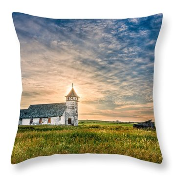 Country Church Sunrise Throw Pillow