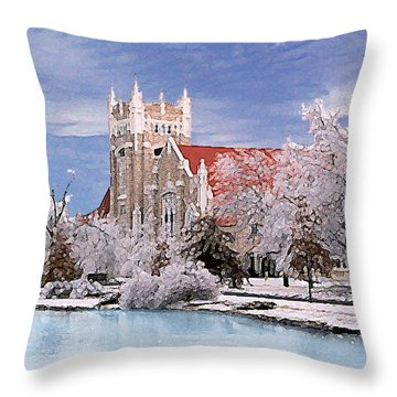 Throw Pillow featuring the photograph Country Club Christian Church by Steve Karol