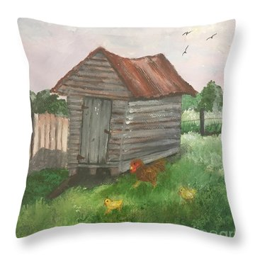 Country Corncrib Throw Pillow by Lucia Grilletto
