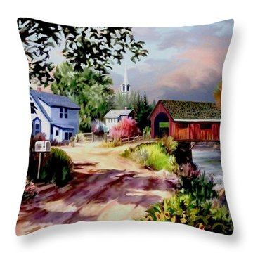 Country Covered Bridge Throw Pillow