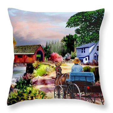 Country Covered Bridge V2 Throw Pillow
