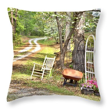 Country Driveway In Springtime Throw Pillow