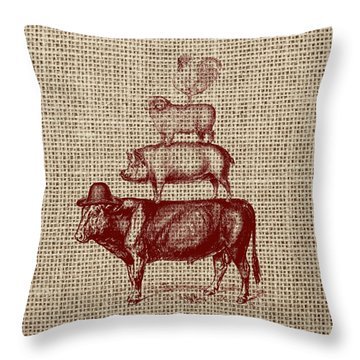 Country Farm Friends 2 Throw Pillow