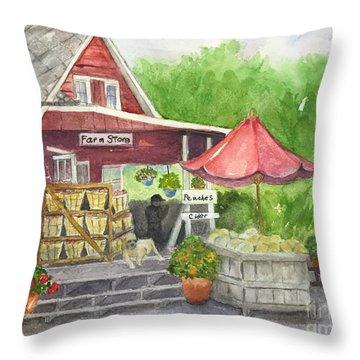 Country Farmer's Market Throw Pillow