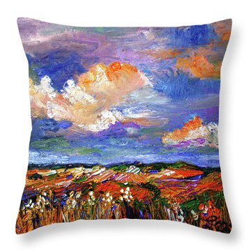 Country Fields Impressionist Landscape Throw Pillow