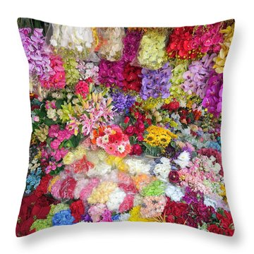 Country Flower Garden Colourful Design Throw Pillow