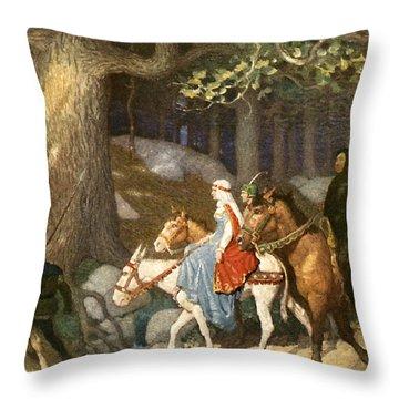 Country Folk Wending Their Way To The Tourney Throw Pillow