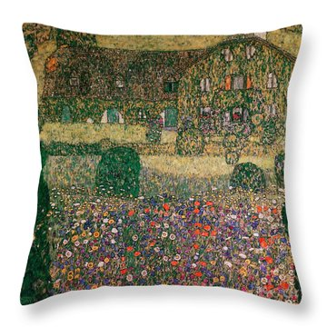 Country House By The Attersee Throw Pillow by Gustav Klimt