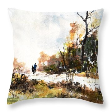 Throw Pillow featuring the painting Country Lane by Diane White