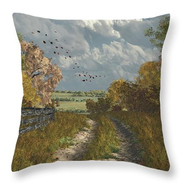 Throw Pillow featuring the digital art Country Lane In Fall by Jayne Wilson
