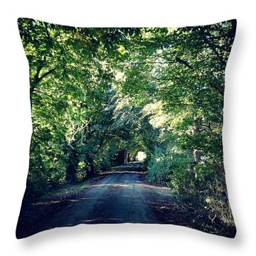 Country Lane, Tree Tunnel Throw Pillow