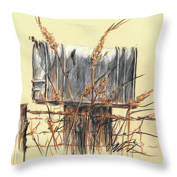 Country Mailbox In Colored Pencil Throw Pillow
