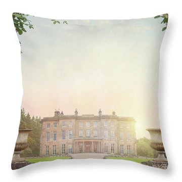 Country Mansion At Sunset Throw Pillow