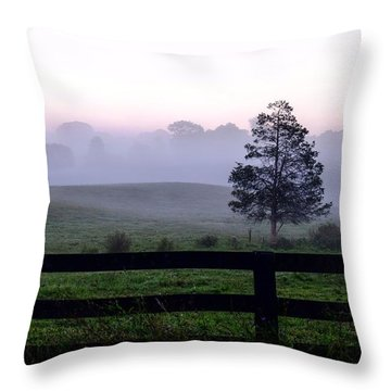 Country Morning Fog Throw Pillow