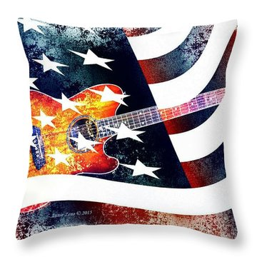 Country Music Guitar And American Flag Throw Pillow