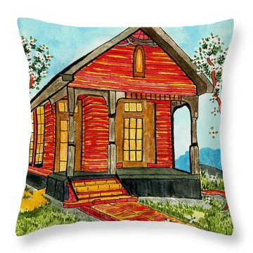 Country New Orleans Shot Gun House Throw Pillow by Connie Valasco