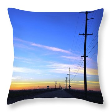 Throw Pillow featuring the photograph Country Open Road Sunset - Blue Sky by Matt Harang