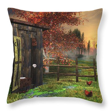 Country Outhouse Throw Pillow by Mary Almond